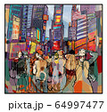 Colorful representation of Times square in New 64997477