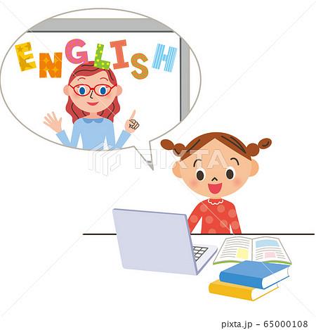 オンラインで英語の勉強をする子供 65000108