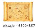 古びたボロボロの海賊の財宝 (お宝/秘宝) の地図 イラスト  65004357