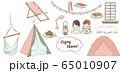 室内でキャンプをする子供のベクターイラスト2 65010907