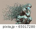 Cooper Thinker In Medical Mask Desintegrated Into 3D Pixels 65017280