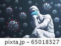 Sculpture Thinker In Medical Mask On Coronavirus Background 65018327