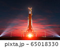 Space Launch System On Launchpad Over Background Of Sunrise 65018330