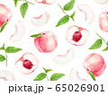 桃 葉 柄 水彩イラスト 65026901
