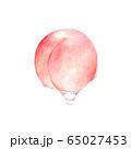桃 しずく 果汁 水彩イラスト 65027453