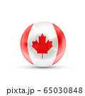 Canada flag projected as a glossy sphere on a 65030848
