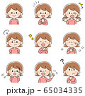 女性のイラスト 表情違いセット 65034335