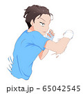 シャドーボクシング_右フック練習する男性 65042545