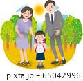 父母と女の子 秋 65042996