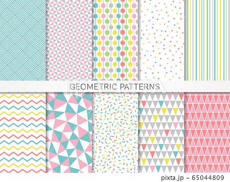 カラフルな幾何学模様のシームレスパターン 65044809