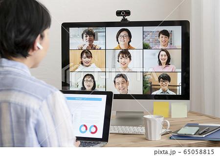 オンラインミーティング ウェブ会議 テレワーク イメージ 65058815