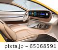 電動スポーツカーのデジタルダッシュボードのイメージ。横長大型スクリーンに多彩な情報が表示されている 65068591
