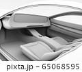 電動スポーツカーのデジタルダッシュボードのクレイレンダリングイメージ。完全自動運転のコンセプト 65068595