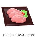 お皿に乗せた豚肉(生肉)のイラスト 65071435