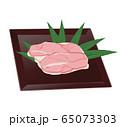 お皿に乗った鶏もも肉の食材イラスト 65073303