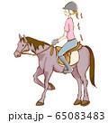 乗馬をする女性のイラスト 65083483