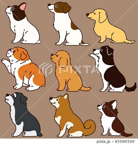 色々な犬おすわりセット 横向き 主線あり 65090560