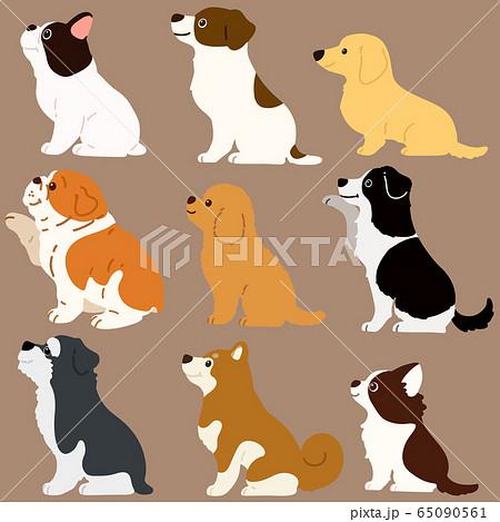 色々な犬おすわりセット 横向き 主線なし 65090561