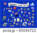 夏の手描きアイコンセット ラフカラー 65094722