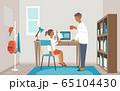 自宅学習の子供を見守る父親のイメージ 65104430