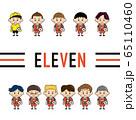 少年サッカーチーム11人のイラスト 65110460