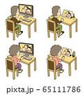 オンラインで孫たちと話す祖父と祖母 イラストセット 65111786