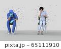 若者のうち一人がウイルスを持っているがソーシャルディスタンスを保ちながら同じ空間にいる 65111910