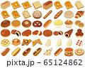 色々なパンのイラスト(食パン、フランスパン、コッペパン、サンドイッチ) 65124862