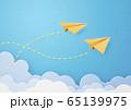ペーパークラフト-空-雲-紙飛行機 65139975