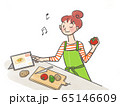 女性 料理準備 タブレット  65146609