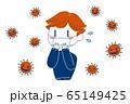 コロナウイルスを怖がるマスクの男性イラスト 65149425