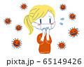 コロナウイルスを怖がるマスクの女性イラスト 65149426