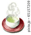 水彩で描いた緑茶の入った湯呑茶碗と茶卓 65157209