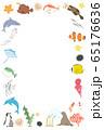 水族館にいる海洋生物の縦フレーム 65176636