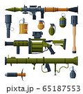 Military Hand Grenade and Bazooka Portable Rocket Launcher Collection, Combat Army Weapon Objects Flat Style Vector Illustration 65187553