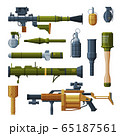 Hand Grenade and Bazooka Portable Rocket Launcher Collection, Military Combat Army Weapon Objects Flat Style Vector Illustration 65187561