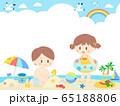 キッズ海の日フレーム/背景 65188806