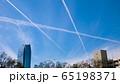 アメリカ ロサンゼルスの空 飛行機雲 65198371