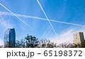 アメリカ ロサンゼルスの空 飛行機雲 65198372