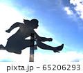 CG立体イラスト 壁を飛び越える女性のシルエット ハードル 可能性 挑戦 65206293