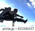 CG立体イラスト 壁を飛び越える男女のシルエット ハードル 可能性 挑戦 65206437