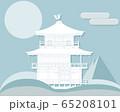 冬の京都「金閣寺」ペーパークラフト風 65208101