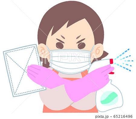 掃除・消毒に燃える女性 - ゴム手袋着用 マスクあり 窓掃除 拭き掃除 水回りの掃除 65216496