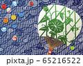 和風 ビー玉と団扇 夏イメージ 65216522