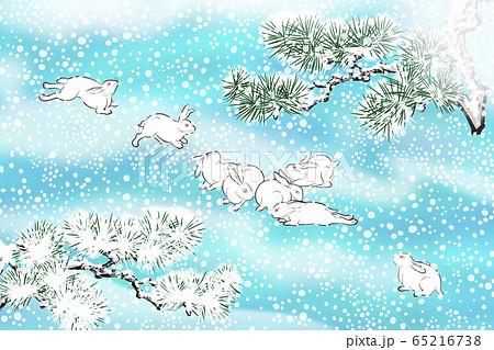 和風 雪と兎のイラスト 65216738