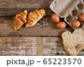 Freshly baked  French croissant bakery and egg 65223570