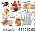 ミリペンとマーカーで描いたようなコーヒーブレイクとスイーツのセット 65226262