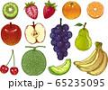 フルーツの手描きイラストセット 65235095