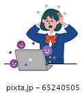 ブレザー 学生 女性 パソコン  コンピュータウイルス コンピュータバグ 困っている 65240505