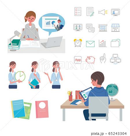 タブレットで勉強をする子ども オンライン授業 オンライン学習 イラスト セット 65243304